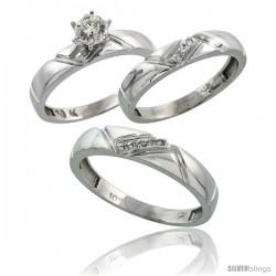 10k White Gold Diamond Trio Wedding Ring Set His 4.5mm & Hers 4mm