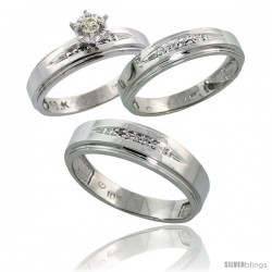 10k White Gold Diamond Trio Wedding Ring Set His 6mm & Hers 5mm -Style 10w113w3
