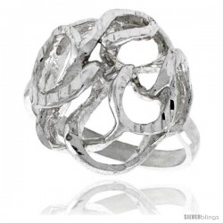 Sterling Silver Freeform Ring Polished finish 3/4 in wide -Style Ffr536