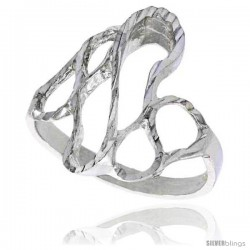 Sterling Silver Freeform Loop Ring Polished finish 3/4 in wide -Style Ffr542