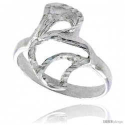 Sterling Silver Freeform Loop Ring Polished finish 5/8 in wide