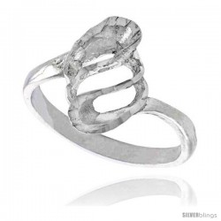 Sterling Silver Freeform Spiral Ring Polished finish 5/8 in wide