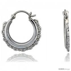 """Sterling Silver High Polished Hoop Earrings, 13/16"""" Long"""