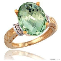 14k Yellow Gold Diamond Green-Amethyst Ring 5.5 ct Oval 14x10 Stone