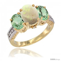 14K Yellow Gold Ladies 3-Stone Oval Natural Opal Ring with Green Amethyst Sides Diamond Accent