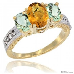 14k Yellow Gold Ladies Oval Natural Whisky Quartz 3-Stone Ring with Green Amethyst Sides Diamond Accent