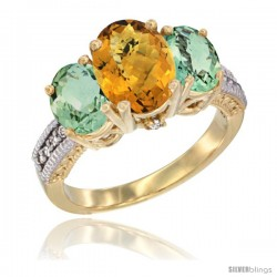14K Yellow Gold Ladies 3-Stone Oval Natural Whisky Quartz Ring with Green Amethyst Sides Diamond Accent