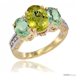 14K Yellow Gold Ladies 3-Stone Oval Natural Lemon Quartz Ring with Green Amethyst Sides Diamond Accent