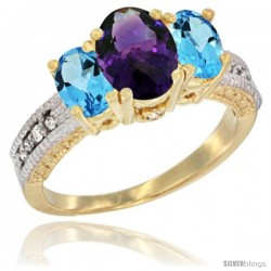 14k Yellow Gold Ladies Oval Natural Amethyst 3-Stone Ring with Swiss Blue Topaz Sides Diamond Accent