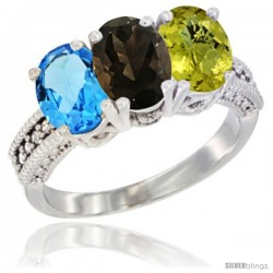 14K White Gold Natural Swiss Blue Topaz, Smoky Topaz & Lemon Quartz Ring 3-Stone 7x5 mm Oval Diamond Accent