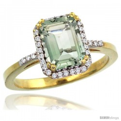 10k Yellow Gold Diamond Green-Amethyst Ring 1.6 ct Emerald Shape 8x6 mm, 1/2 in wide -Style Cy902129