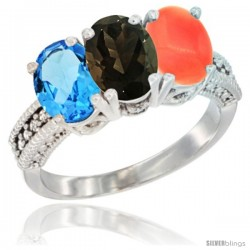 14K White Gold Natural Swiss Blue Topaz, Smoky Topaz & Coral Ring 3-Stone 7x5 mm Oval Diamond Accent