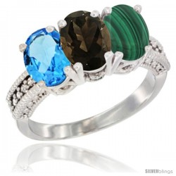 14K White Gold Natural Swiss Blue Topaz, Smoky Topaz & Malachite Ring 3-Stone 7x5 mm Oval Diamond Accent