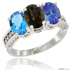 14K White Gold Natural Swiss Blue Topaz, Smoky Topaz & Tanzanite Ring 3-Stone 7x5 mm Oval Diamond Accent