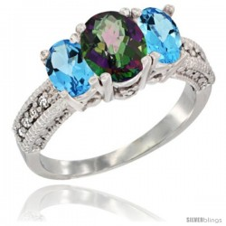 14k White Gold Ladies Oval Natural Mystic Topaz 3-Stone Ring with Swiss Blue Topaz Sides Diamond Accent