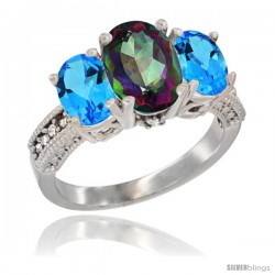 14K White Gold Ladies 3-Stone Oval Natural Mystic Topaz Ring with Swiss Blue Topaz Sides Diamond Accent