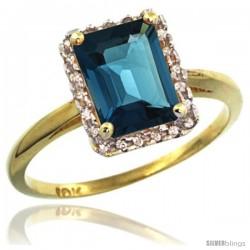 10k Yellow Gold Diamond London Blue Topaz Ring 1.6 ct Emerald Shape 8x6 mm, 1/2 in wide