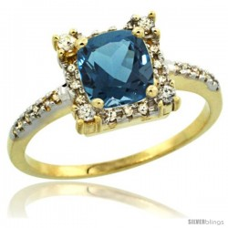 10k Yellow Gold Diamond Halo London Blue Topaz Ring 1.2 ct Checkerboard Cut Cushion 6 mm, 11/32 in wide