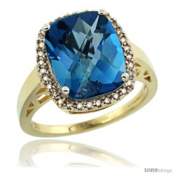 10k Yellow Gold Diamond London Blue Topaz Ring 5.17 ct Checkerboard Cut Cushion 12x10 mm, 1/2 in wide