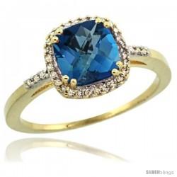 10k Yellow Gold Diamond London Blue Topaz Ring 1.5 ct Checkerboard Cut Cushion Shape 7 mm, 3/8 in wide