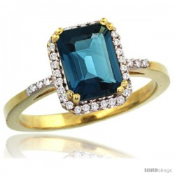 10k Yellow Gold Diamond London Blue Topaz Ring 1.6 ct Emerald Shape 8x6 mm, 1/2 in wide -Style Cy905129