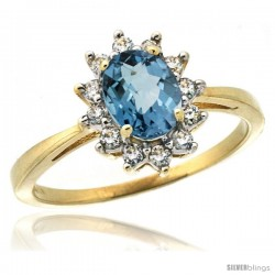 10k Yellow Gold Diamond Halo London Blue Topaz Ring 0.85 ct Oval Stone 7x5 mm, 1/2 in wide
