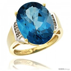 10k Yellow Gold Diamond London Blue Topaz Ring 9.7 ct Large Oval Stone 16x12 mm, 5/8 in wide
