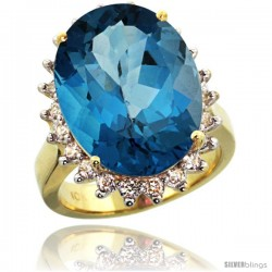 10k Yellow Gold Diamond Halo London Blue Topaz Ring 10 ct Large Oval Stone 18x13 mm, 7/8 in wide