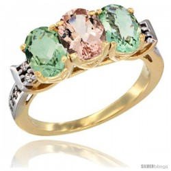 10K Yellow Gold Natural Morganite & Green Amethyst Sides Ring 3-Stone Oval 7x5 mm Diamond Accent
