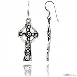 Sterling Silver Celtic Healing Cross Dangle Earrings, 1 15/16 in tall