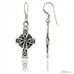Sterling Silver Celtic High Cross Dangle Earrings with Knot Patern, 1 1/2 in tall
