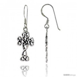 Sterling Silver Celtic Cross Dangle Earrings Triquetra Trinity Knot, 1 3/8 in tall