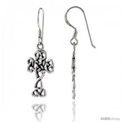 Sterling Silver Celtic Cross Dangle Earrings Triquetra Trinity Knot, 1 3/8 in tall