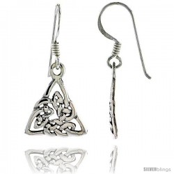 Sterling Silver Triquetra Celtic Dangle Earrings, 1 3/16 in tall