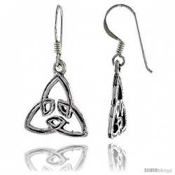 Sterling Silver Triquetra Trinity Celtic Dangle Earrings, 1 1/4 in tall