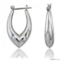 "Sterling Silver High Polished Heart Hoop Earrings, 1 1/8"" Long"