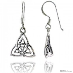 Sterling Silver Triquetra Celtic Dangle Earrings, 1 3/16 in tall -Style Te910