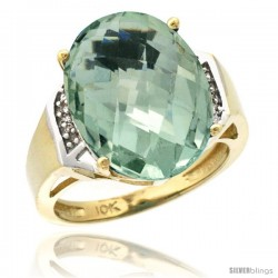 10k Yellow Gold Diamond Green-Amethyst Ring 9.7 ct Large Oval Stone 16x12 mm, 5/8 in wide