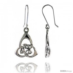 Sterling Silver Triquetra Celtic Dangle Earrings, 1 5/16 in tall