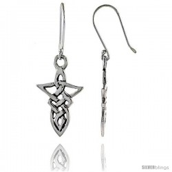 Sterling Silver Celtic Dangle Earrings, 1 7/16 in tall