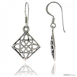 Sterling Silver Celtic Dangle Earrings, w/ Floral Design, 1 1/4 in tall