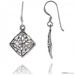 Sterling Silver Celtic Quaternary Knot Dangle Earrings, 1 5/16 in tall