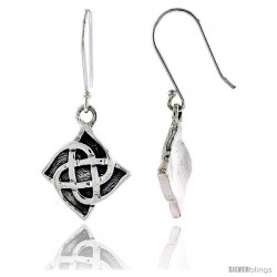 Sterling Silver Celtic Quaternary Knot Dangle Earrings, 1 1/4 in tall