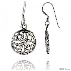 Sterling Silver Celtic Circle Dangle Earrings, 1 1/4 in tall