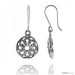 Sterling Silver Celtic Dangle Earrings, w/ Interlacing Circles 1 1/4 in tall