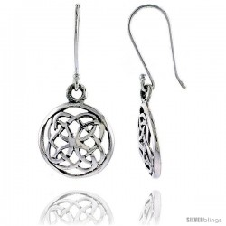 Sterling Silver Celtic Circle Dangle Earrings, 1 1/4 in tall -Style Te924