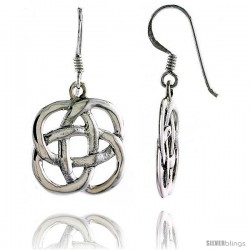Sterling Silver Celtic Quaternary Knot Dangle Earrings, 1 3/8 in tall