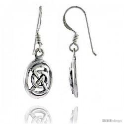 Sterling Silver Oval Celtic Dangle Earrings, 1 3/16 in tall
