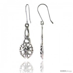 Sterling Silver Celtic Dangle Earrings, 1 9/16 in tall