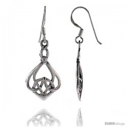 Sterling Silver Celtic Dangle Earrings, 1 1/2 in tall -Style Te934